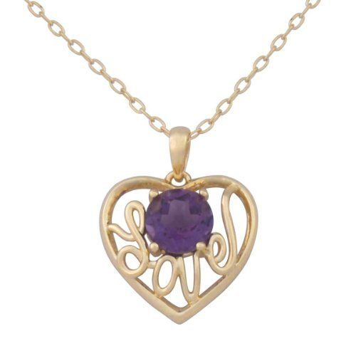 """18k Yellow Gold Plated Sterling Silver Genuine Africa Amethyst """"Love"""" Heart Pendant Necklace, 18"""" Amazon Curated Collection. Save 61 Off!. $39.00. The natural properties and composition of mined gemstones define the unique beauty of each piece. The image may show slight differences to the actual stone in color and texture.. Made in China. Rhodium plated"""