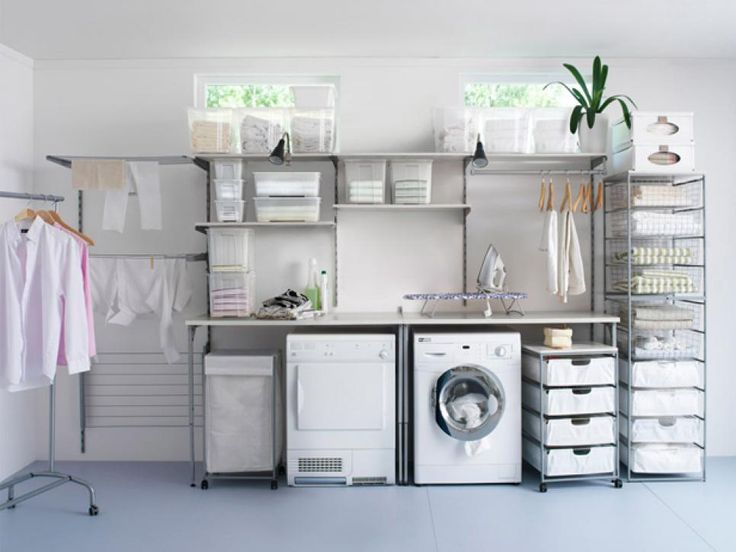 Rolling storage offers plenty of space for cleaning products and can be arranged to fit any laundry room. Rods for drying clothes as well as high shelves to store out-of-season clothing make it easy to keep everything in its place and off the floor.