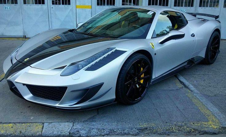 Ferrari 458 wrapped in matte silver.