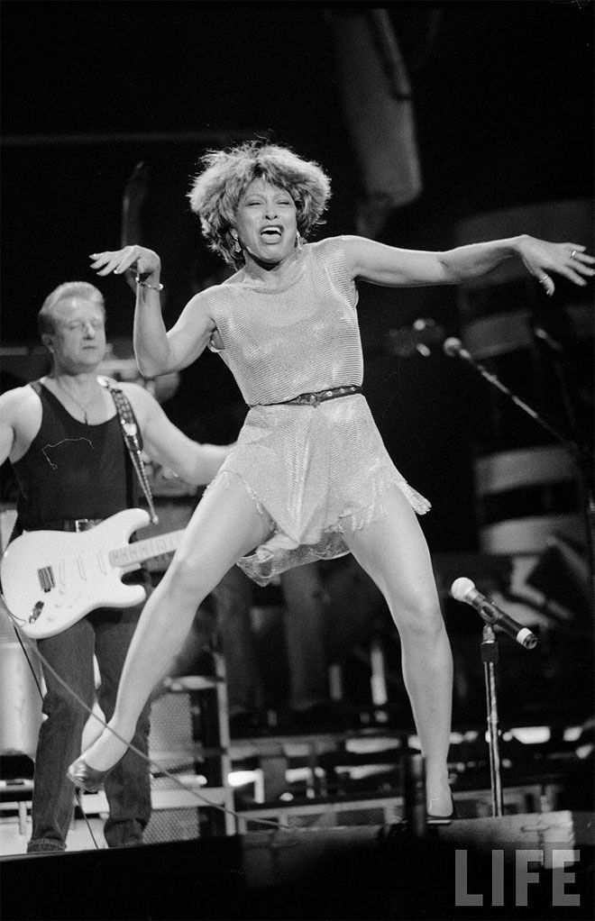 Tina Turner - She kept her fantastic dance legs well past when most people let themselves 'go.'