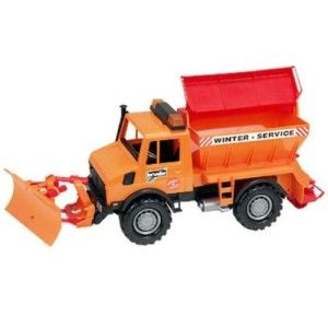 Bruder Snowplow  Very rugged and very lifelike, with moving parts just like a real snowplow. It has a lot of neat details such as how the back can open and actually spit sand out.  http://bit.ly/1ECAVOd