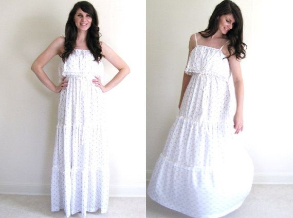 70s Maxi Dress / Shabby Chic Wedding Dress / Boho by Coldfish, $110.00