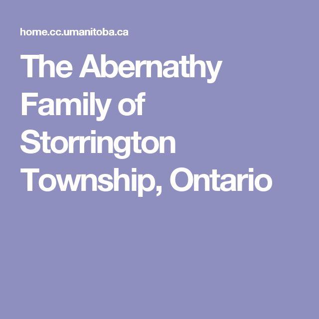 The Abernathy Family of Storrington Township, Ontario
