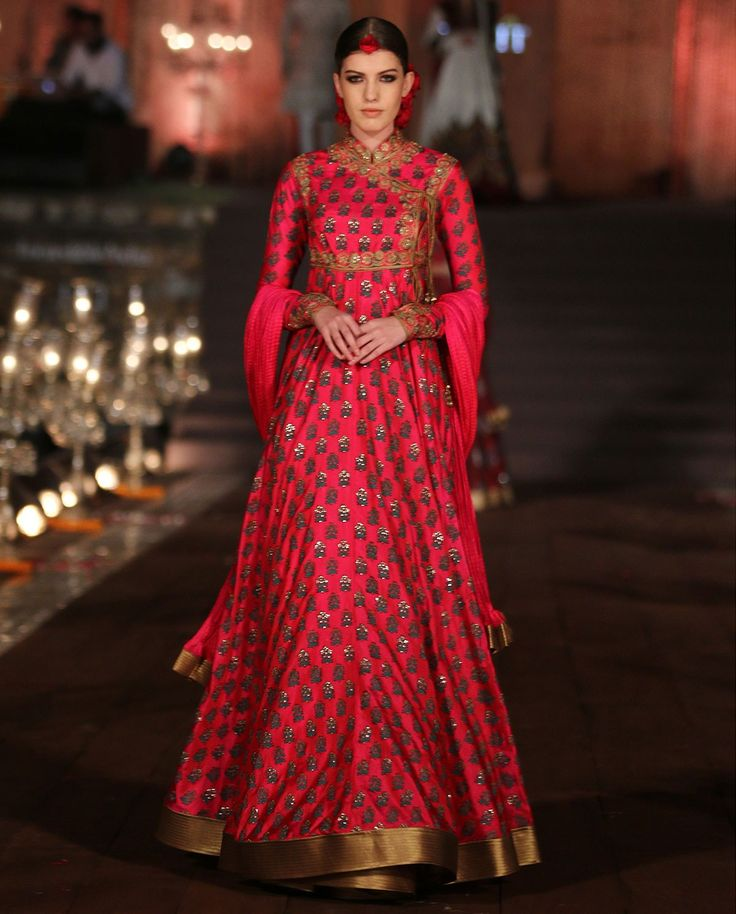 http://www.RohitBal.com/ #SS15 Collection ~ Ruby Red Block Printed #Angarakha Set $2750