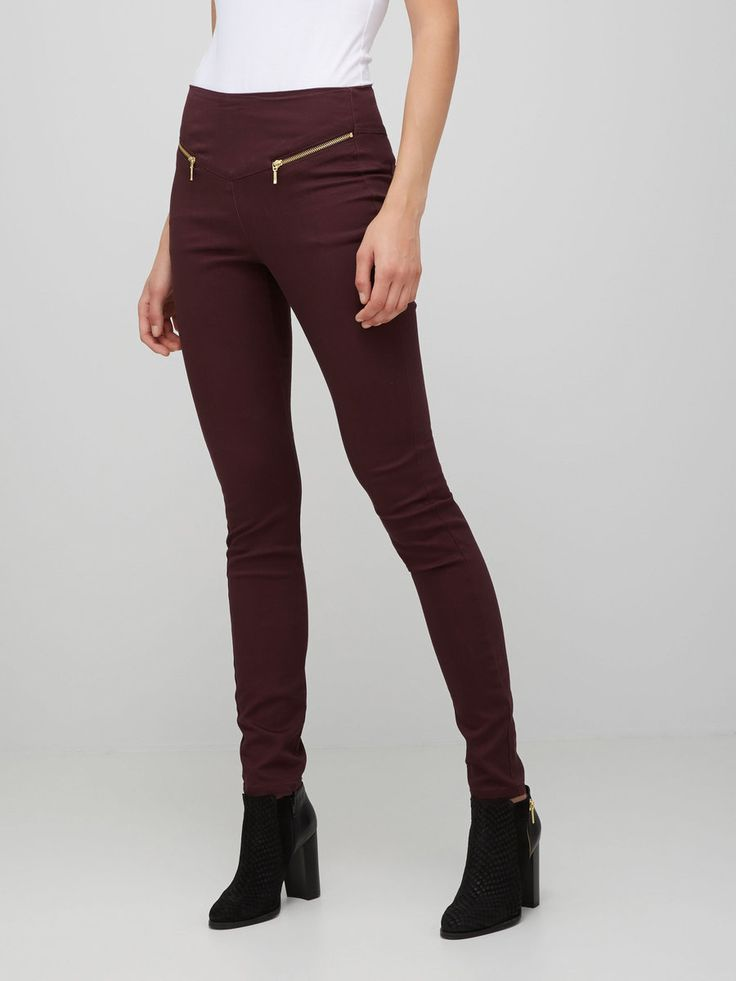 HIGH WAIST DENIM LEGGINGS, Fudge