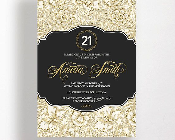 21st Birthday Invitation 21st Birthday Gold Black White Pattern Floral Flowers Classic Damask Printable Calligraphy 21st Invitation Party by WestminsterPaperCo on Etsy https://www.etsy.com/listing/234184548/21st-birthday-invitation-21st-birthday