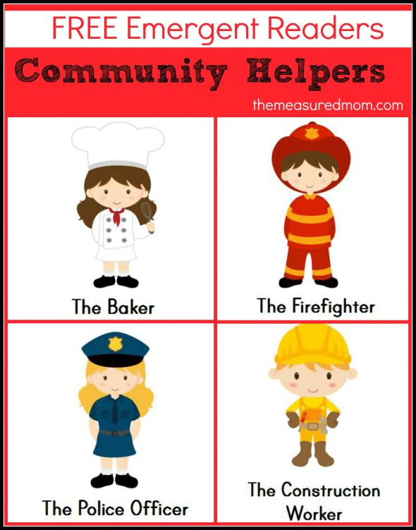 """Community Helpers Emergent Readers: free! (sight word """"I"""") from The Measured Mom"""