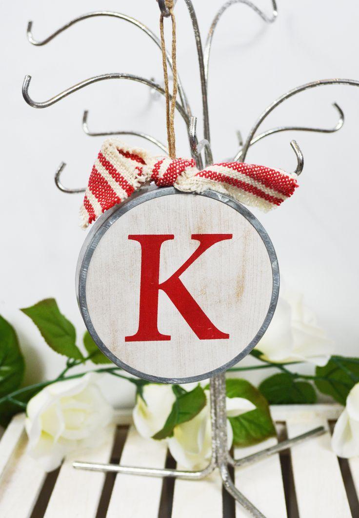 wood initial ornament-k
