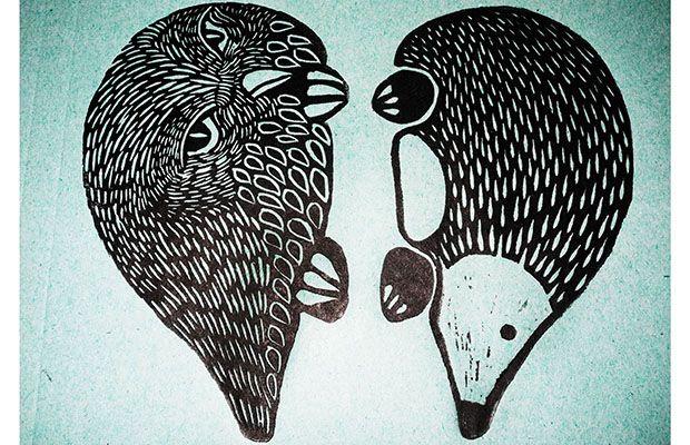 """Animali notturni"" linocut print by susanna doccioli"