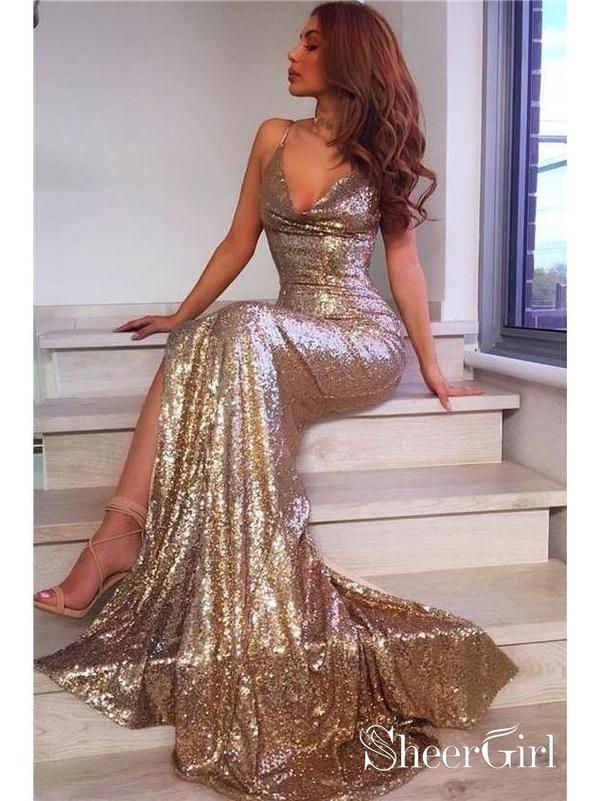 a736b5047e2 Gold Mermaid Prom Dresses with Slit Backless Formal Dresses  APD3467-SheerGirl