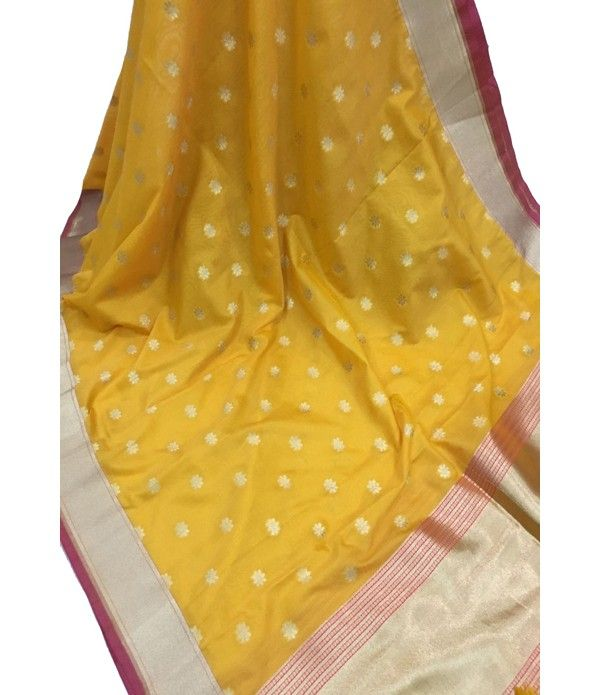 Yellow Handloom Banarasi Georgette Silk Dupatta