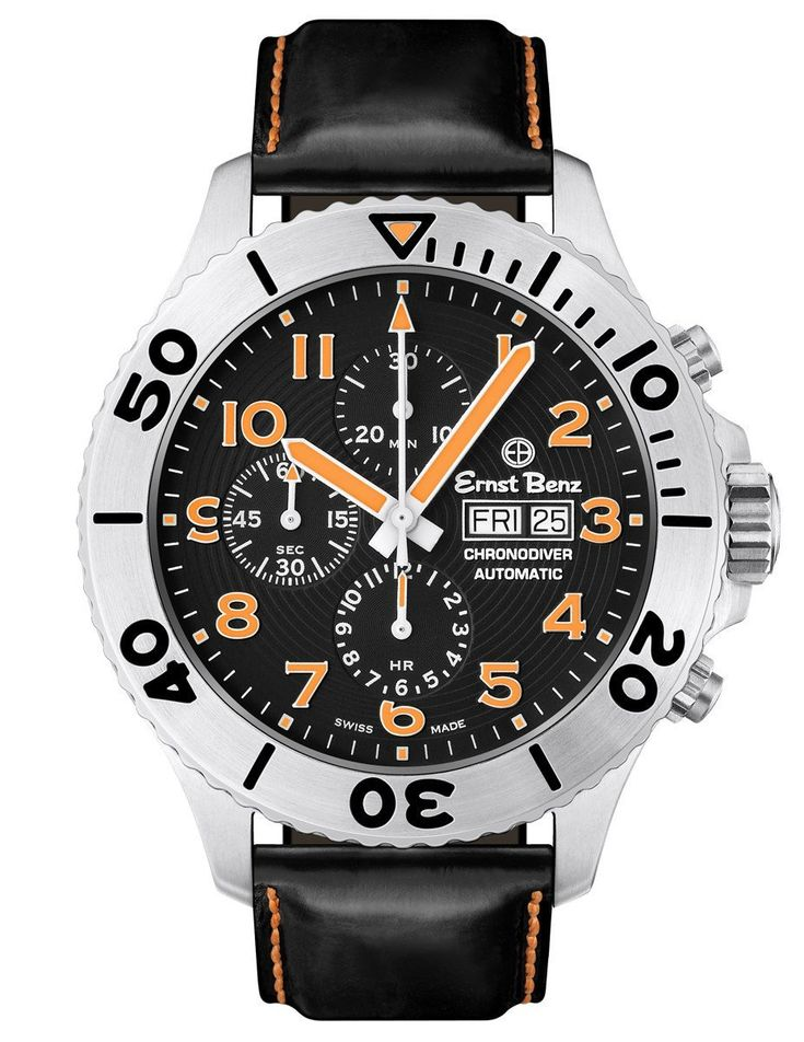 Ernst Benz GC10726 Men's Black/Orange Chronodiver Swiss Made Watch Rotating Bezel