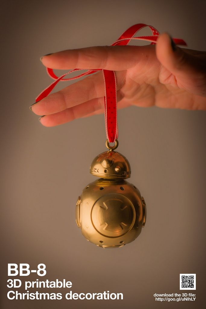 3D printable BB8 Christmas decoration - download the 3D file here: http://www.turbosquid.com/3d-models/3d-star-wars-ball-printing-model/980502?referral=thecadbuilder