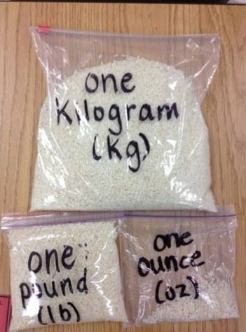 Use rice in Ziplock bags to compare ounces, pounds, kilograms and more...