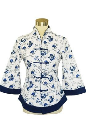 Big picture of Chinese Floral Cotton Blouse - White/Blue, Click to Enlarge