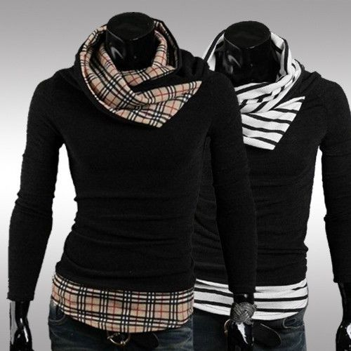 New Winter Men's  hit the color mosaic can be turned turtle neck sweater knit self-cultivation