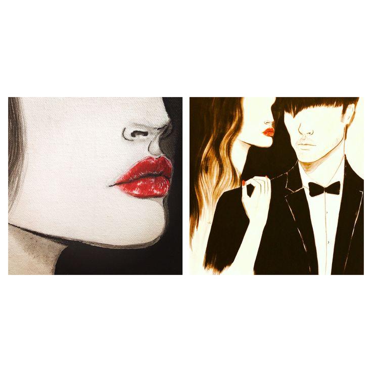 Acrylic illustration, red lips, handmade illustration by Nessa