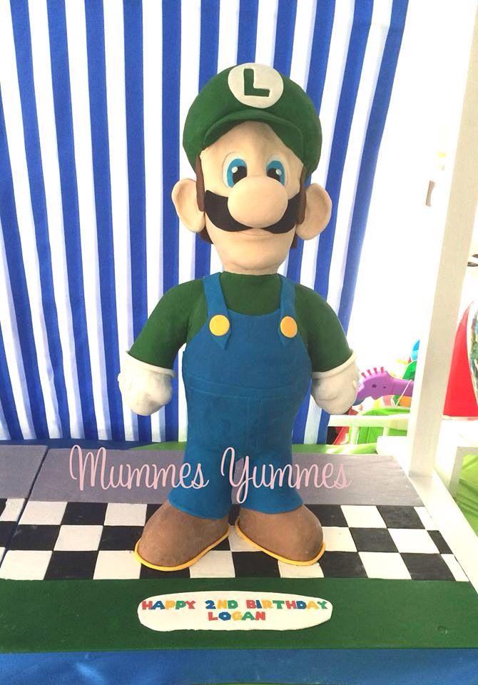 Luigi cake for my other beautiful boy <3 #luigi #mariobros #cake #3D