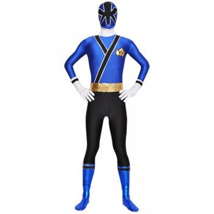 Shinkenger blue Power Ranger Costume. the costume is blue and black color. all the piece are one piece.belt is golden it is attached with the costume.the eyes use the black eyelet fabric can see out well,but other one can't see your eyes.