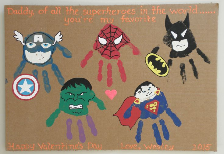 Super Heroes Valentine's Day Card Hand Prints