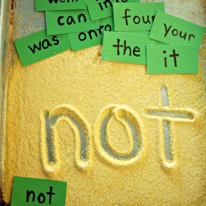 Draw sight words in cornmeal for some simple writing practice.
