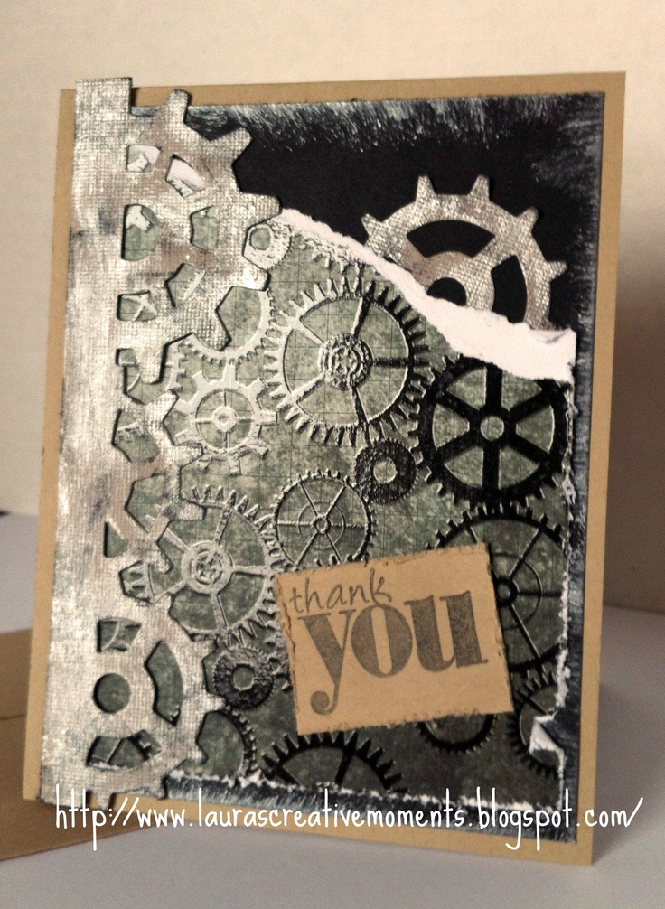 Thank You, Tim Holtz paper and on the edge die: Steampunk