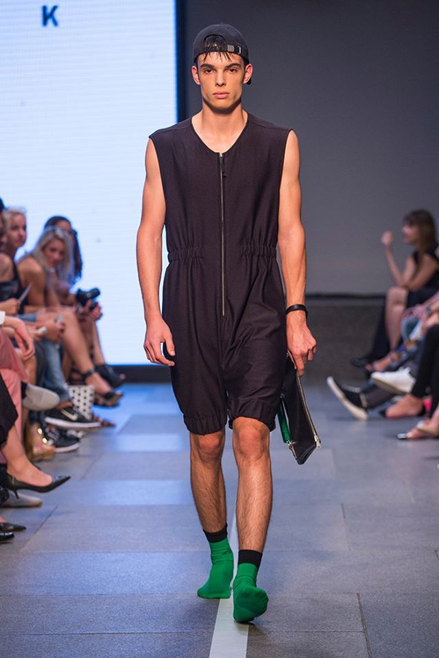 #stinak #boy all in #black but #greensocks are #forever #overall for #men #menswear #czech #male #model #fashioshow #stinakofficial