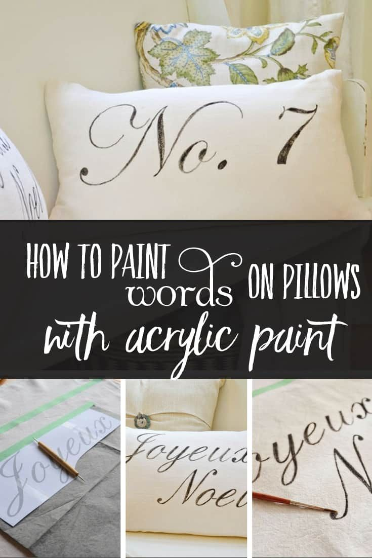 How To Paint Words On Pillows With Acrylic Paint Pillows Diy