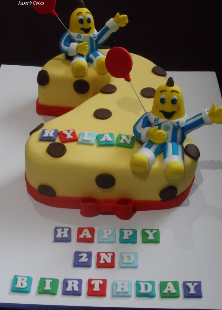 Banana's in pyjama's cake  Chocolate cake, covered in ganache and fondant.  B1 and B2 made out of fondant also.  No# 2 cake