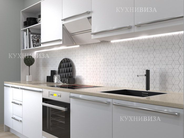 Современная кухня в сером цвете.  Modern kitchen cabinet grey color.