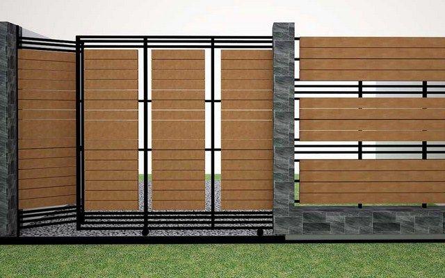 desain pagar rumah minimalis kayu dan besi rumah