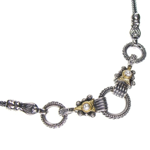 Gerochristo Necklace Sterling Silver and Gold 18-karat Made in Greece