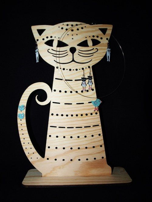 Jewelry holder Cat wooden Jewelry stand an by CinkyLinky on Etsy