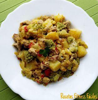 Solomillo con romanesco y patata al curry Recetas Fitness Fáciles Recetas Fitness Fáciles