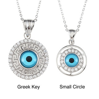 @Overstock - This Evil Eye pendant from La Preciosa is available in your choice of Greek Key or small circle options, each set with round-cut clear cubic zirconia stones. Crafted of .925 sterling silver, this necklace includes a cable chain.http://www.overstock.com/Jewelry-Watches/La-Preciosa-Sterling-Silver-Cubic-Zirconia-Aqua-Evil-Eye-Necklace/6789466/product.html?CID=214117 $29.69