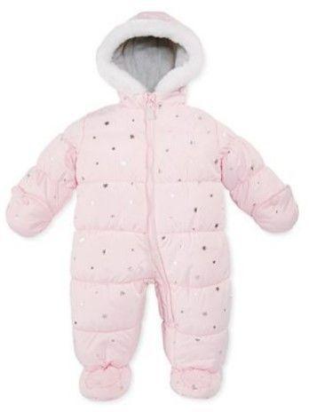 Carter's Infant Girls Pink Foil Stars Snowsuit Baby Pram Snow Suit 24m