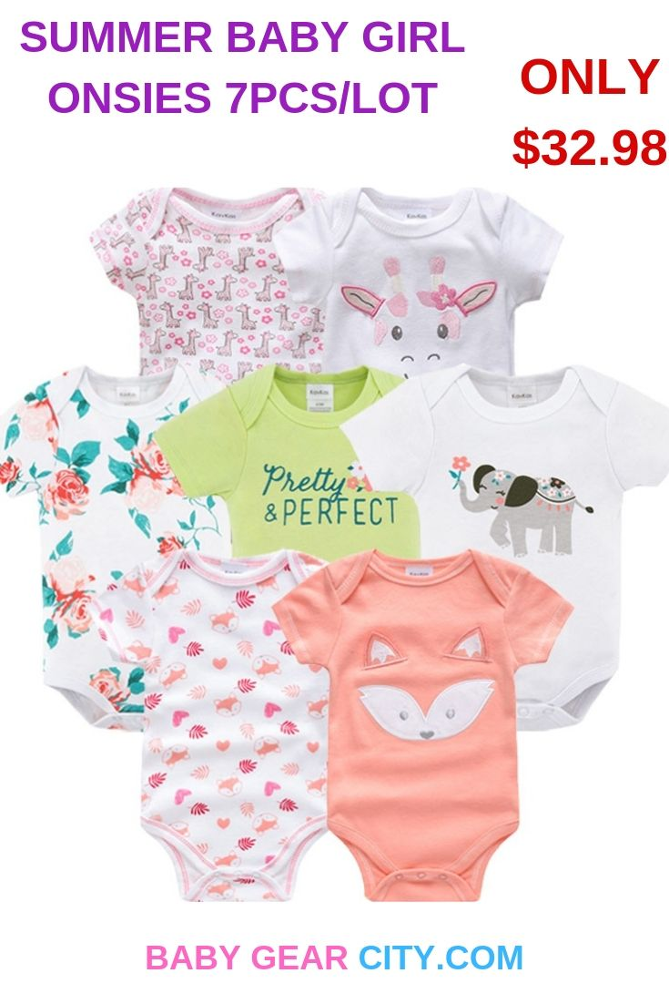 Summer Cute Baby Cotton Bodysuit 7 Pcs Lot Baby Gear City Stylish Baby Clothes New Baby Products Baby