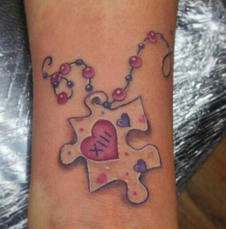 Facebook Twitter Pinterest Gmail The puzzle piece tattoos are representative of autism. This puzzle piece design has become the universal symbol for autism, and many ink lovers get this puzzle piece inked on their skin to show support for a friend, loved one, or the cause in general. This puzzle piece was originally designed by …