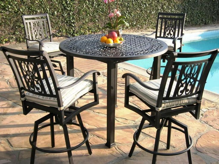 Dining Table, : E Quisite Outdoor Dining Room Decoration With Round Iron  Outdoor Pub Table Including Black Wrought Iron Outdoor Pub Chair An.