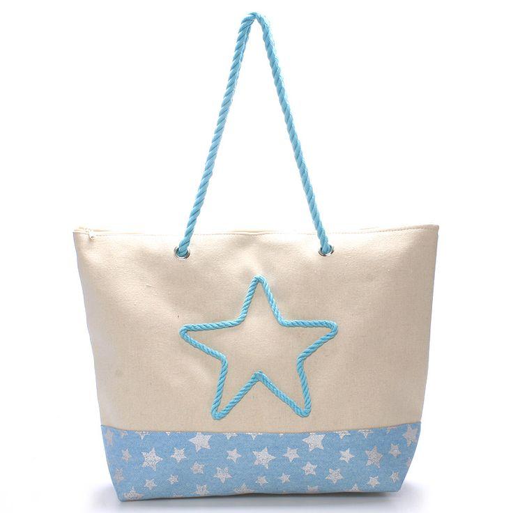 Šedá letní plážová taška. #šedá # modrá #kabelky #pláž #léto #móda #dovolená #krása