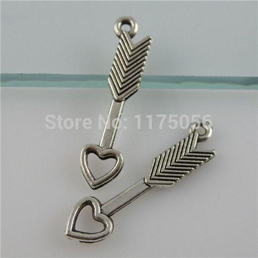 ( 60 штук / lot ) 11484 сплав меч из электропитание в форме сердца стрелка коннектор кулон ювелирные изделия делает