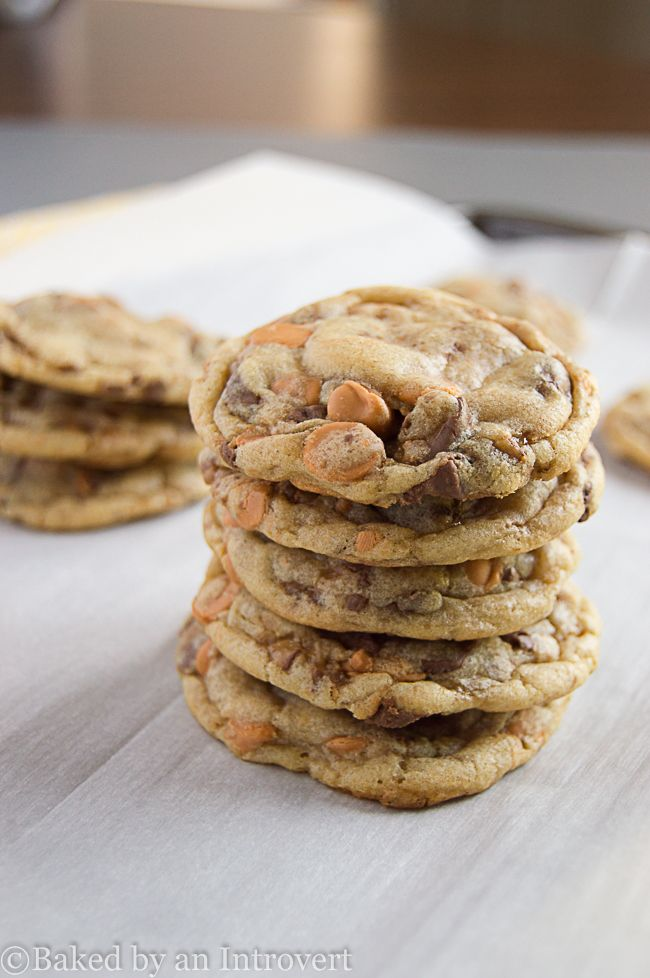 Ultra chewy cookies with delicious butterscotch chips and chocolate toffee bits. From @jensbakeblog