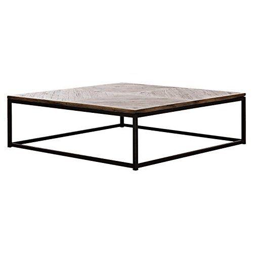 2er Set Couchtisch Eiche Metall Beistelltisch Industiedesign Loft Vintage  Sofatisch Massiv Holz (Eiche Natur