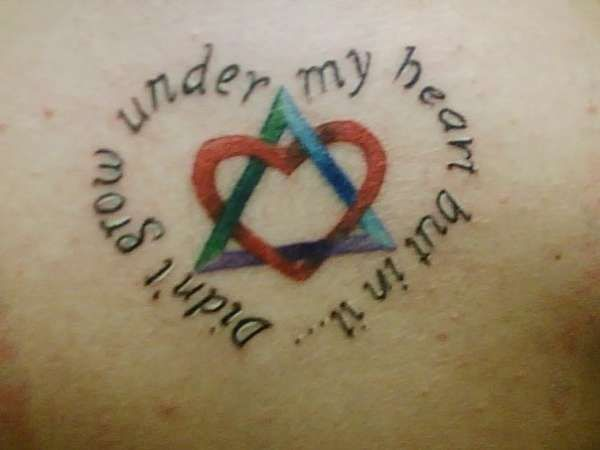 """This is similar to the tattoo I plan to get. The triangle and the heart are the adoption symbol and I want to have my kids names around it. I only get tattoos that are very meaningful to me. The only other one I have is the Japanese Kanji Symbol for """"Mother"""" on my back that I got after my mother's funeral."""