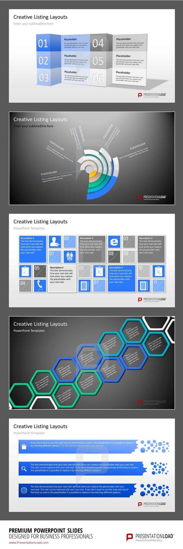 Creative Listings PowerPoint Template The listing layouts have all been created within PowerPoint as vector graphics, which can all be individually adapted to your company specific Corpoarte Design.  #presentationload www.presentationl...