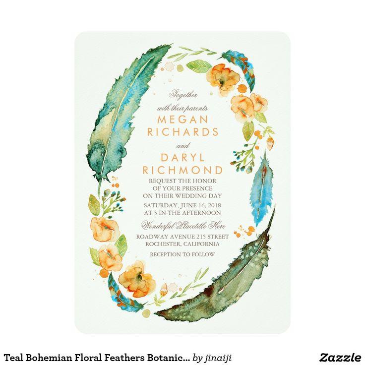 Teal Bohemian Floral Feathers Botanical Wedding