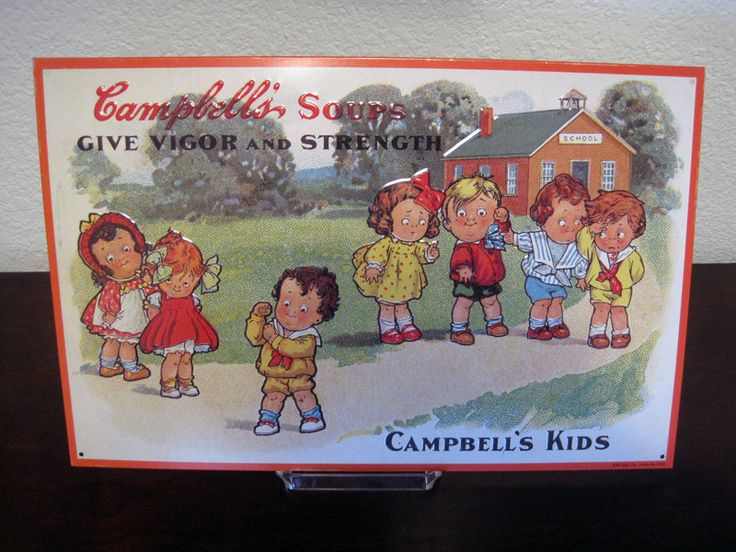 Vintage Campbell's Kids Metal Sign – Campbell Soup Company Reproduction Advertising Sign – Wiederseim Art by fromThePeddlersCart on Etsy