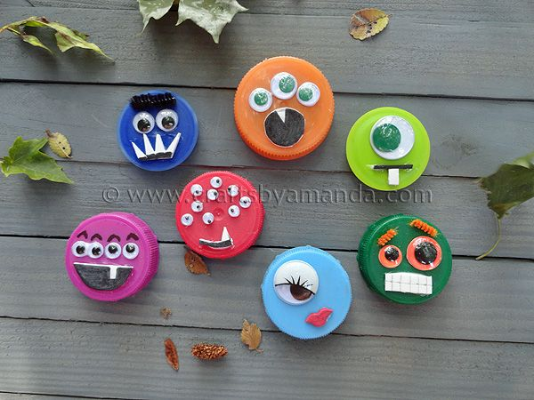 Fun recycling project for Halloween - Plastic Lid Monsters. Attach magnets and decorate the fridge!