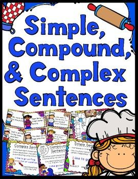 A fun game to help students learn about simple, compound, and complex sentences.Game - 30 Simple, Compound, & Complex Sentence Cards, Instruction/Title Cards, Answer Key, Game BoardStudent Helper Sheet - Everything you need to explain simple, compound, & complex sentences in a one page handout.Anchor Charts - Simple, Compound, & Complex Sentence Anchor ChartsThis product is similar to my St.