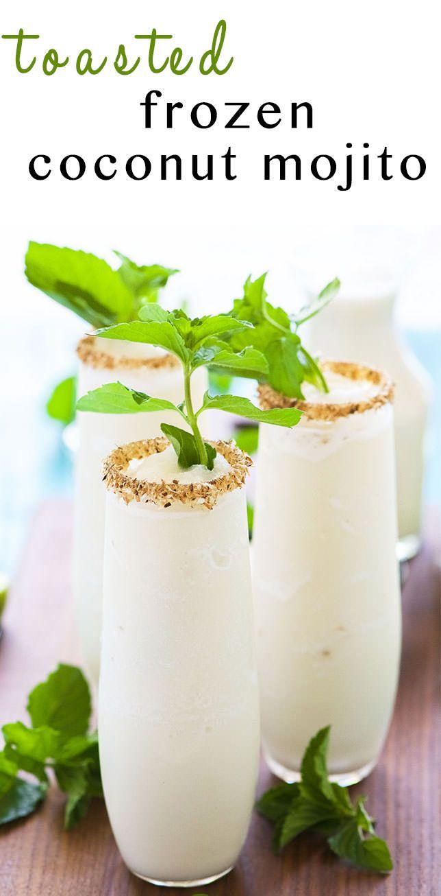 Congelado tostado coco Mojito es un verano debe tener!  Hecho más ligero con el jugo de limón fresco, un jarabe simple menta hecha en casa y luego se mezcla con la leche de coco para un cóctel refrescante que usted no tendrá dificultad pidiendo segundos!